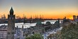 Leinwanddruck Bild - Hamburger Hafen Panorama