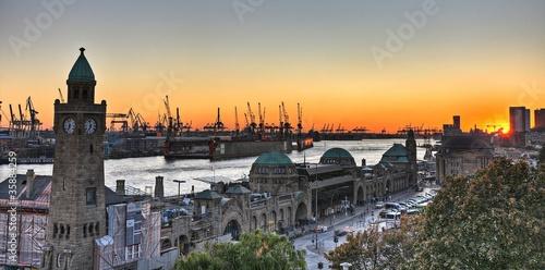 Leinwanddruck Bild Hamburger Hafen Panorama