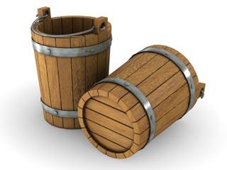 Two wooden bucket