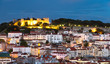 castle Sao Jorge and Lisbon downtown, night