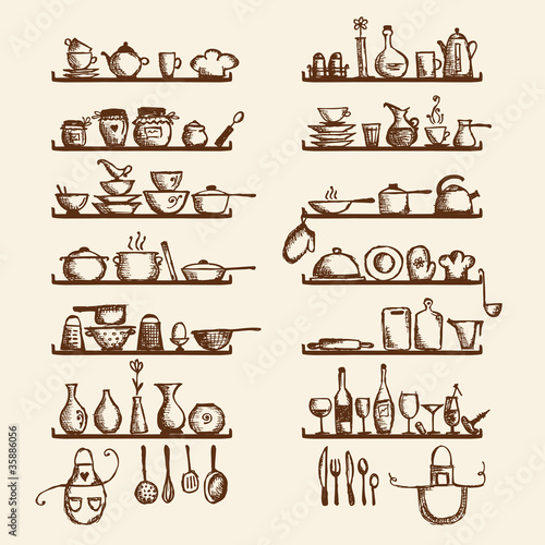 Kitchen utensils on shelves, sketch drawing for your design
