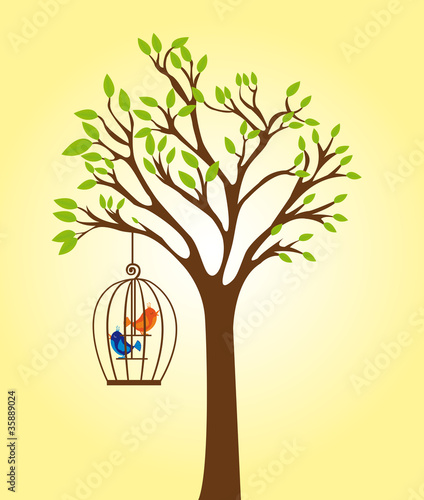 tree with cage