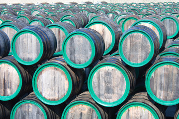 Warehouse with wine casks with madeira outdoors, top view