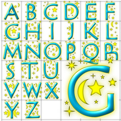 abc alphabet background nightsky design