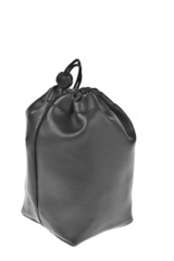 Bag, leather black pouch isolated on white background