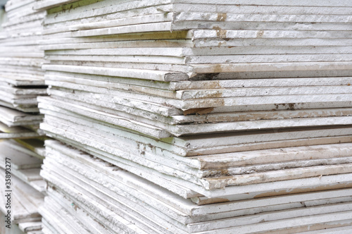 canvas print picture Stacking of gypsum sheets