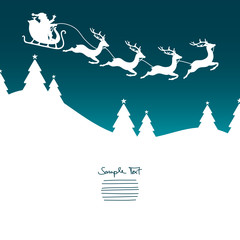 Christmas Sleigh Flying Silent Night Turquoise