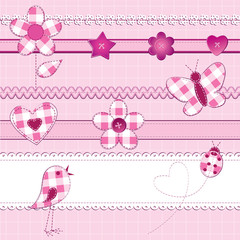 Scrapbook elements in pink