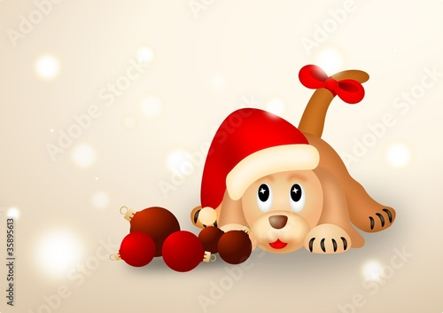 Christmas puppy with red balls and Santa's hat
