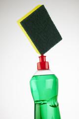 sponge and soap bottle