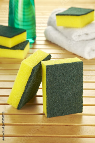 composition of two kitchen sponges