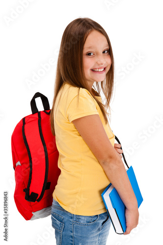 Girl holding books isolated on white background