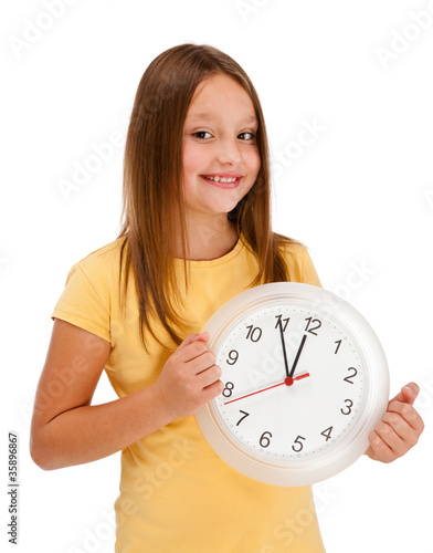 Girl holding wall-clock isolated on white background