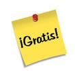 Post-it con chincheta texto ¡Gratis!