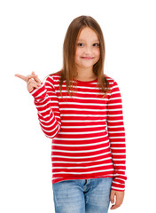 Girl pointing isolated on white background