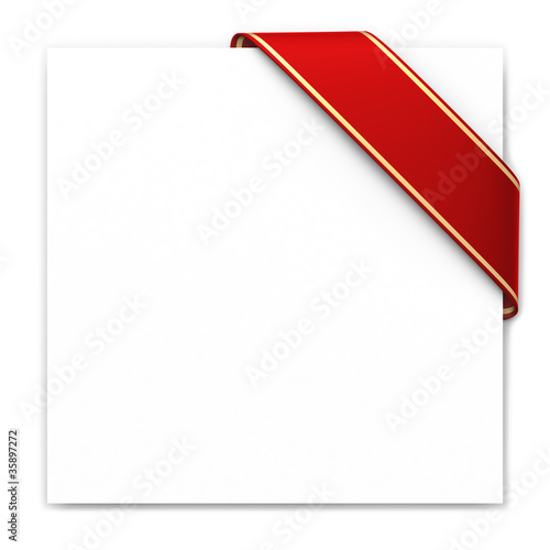 Red corner ribbon with golden edges