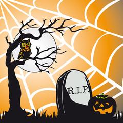 Cartolina a tema Halloween con ragnatela di sfondo