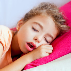 Deep sleeping children girl closeup portrait