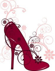Shoe with floral decorations