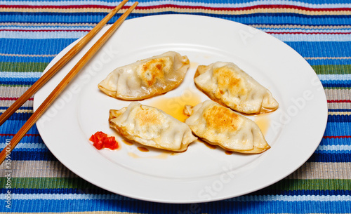 Golden Brown Potstickers on White Plate