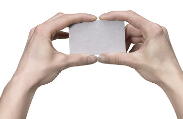 hands holding a clean  card
