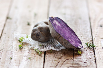 Open purple potato