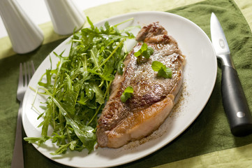 Plate of Steak and Green Salad