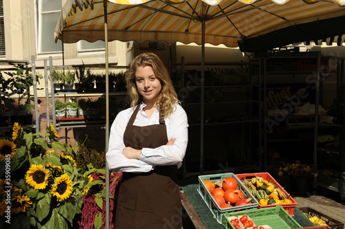 vendor at the farmers market