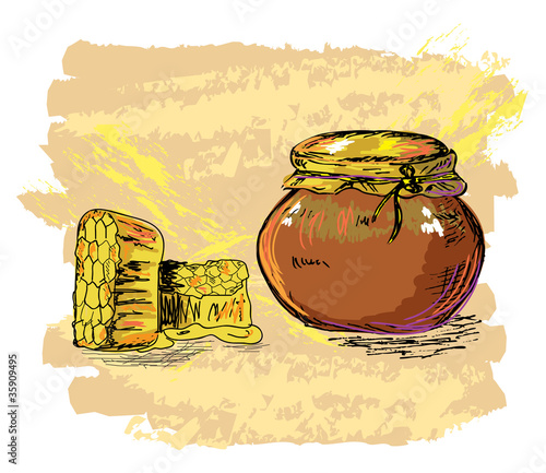 honey jar and honeycombs