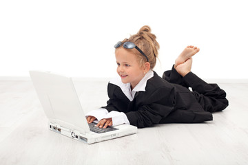 Little girl playing businesswoman