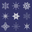 Various shapes of snowflakes