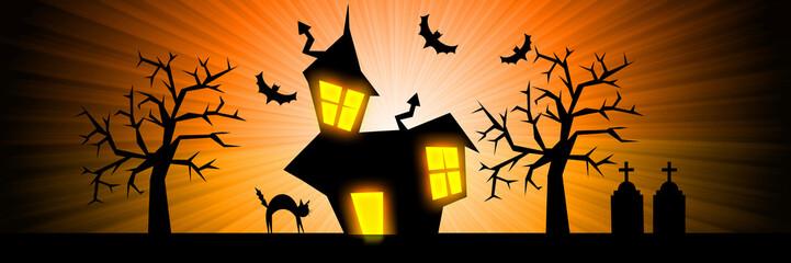 Halloween nightmare rays banner background