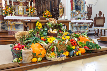 Harvest Festival Altar (Erntedankaltar) at Church in Germany