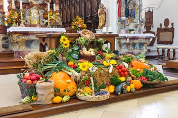 Harvest Festival Altar (Erntedankaltar) at Church in Germany