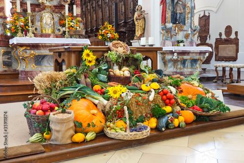 Leinwanddruck Bild Harvest Festival Altar (Erntedankaltar) at Church in Germany