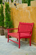 red old style wood seat at balcony