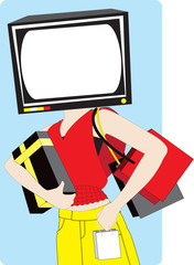 Shopping Woman With A Television Set Head