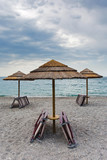 empty Ionian sea beach in overcast day, Sicily poster