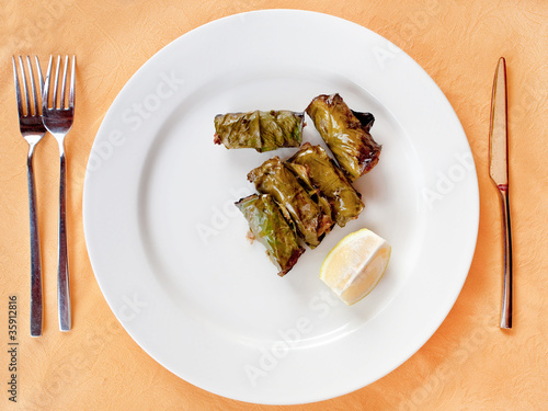 meat balls in lemon leafs on plate