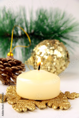 Christmas decoration,  fir sprig, candle and cones