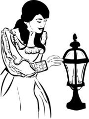 a girl near a street light