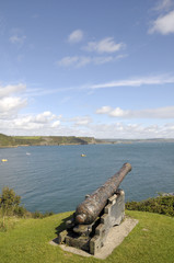 Cannon overlooking North Beach of Tenby
