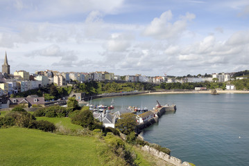 Hill above Tenby harbour in Pembrokeshire