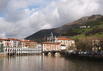 View of Tolosa, Oria river, town market and Santa Maria Church