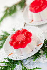 Panna cotta with fruit jelly for Christmas