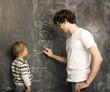 portrait of little boy with teacher