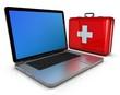Laptop mit Koffer