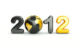 3d new year 2012 shape on white background with 3d globe