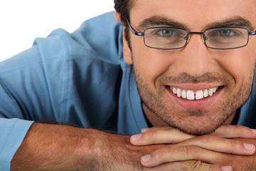 Cheerful man wearing eyeglasses