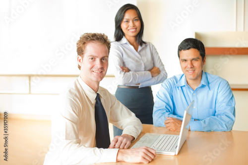 Caucasian Man Leads Business Meeting